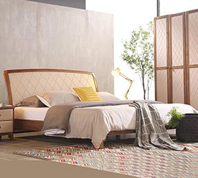 北欧风格卧室板木双人床 高箱床1.5米