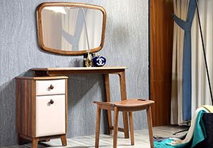 卧室家具带妆镜可伸缩北欧风梳妆组合