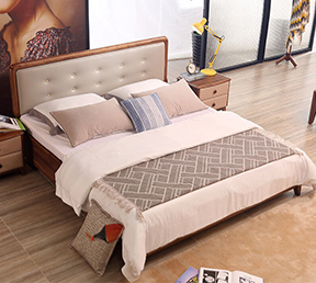 北欧软靠板木储物双人床 1.8*2米框架床
