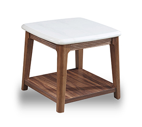 北欧大理石面角几胡桃木小茶几沙发边桌