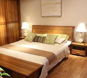 现代简约实木双人卧室家具套装高箱床
